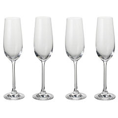 Home Collection Crystal Glass Champagne Flutes 4 Pack