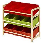 Children's Red, Orange and Green 9 Bin Toy Storage