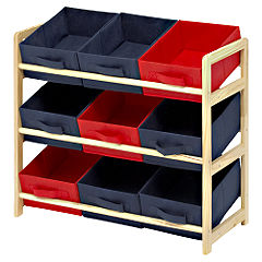 Children's Red and Blue 9 Bin Toy Storage