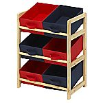Children's Red and Blue 6 Bin Toy Storage