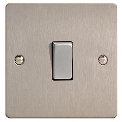D and T Brushed Steel 1 Gang Light Switch
