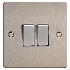 D and T Brushed Steel 2 Gang Light Switch
