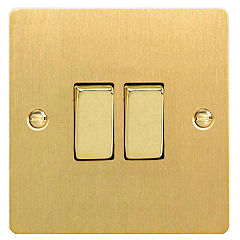 D and T Brushed Brass Double Gang Light Switch