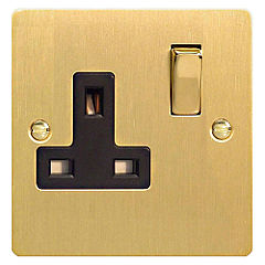 D and T Brushed Brass Single Gang 13A Socket