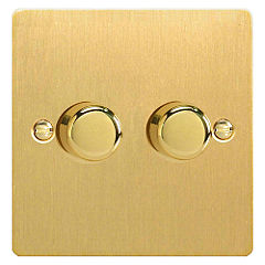 D and T Brushed Brass Double 250W Dimmer Switch