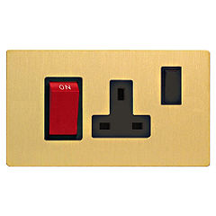D and T Brushed Brass 45A Cooker Switch & 13A Socket