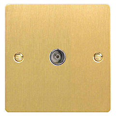 D and T Brushed Brass Co-axial Socket