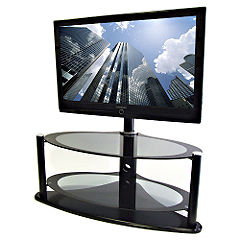 S&C Three-tier Hybrid Bolt-on Stand for up to 50-inch TVs Grey Glass