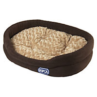 RSPCA Brown and Beige Medium Oval Supersoft Faux Suede Pet Bed