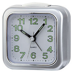 Tu Silver Effect Analogue Alarm Clock