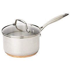 Different by Design Copper Bottom Stainless Steel 16cm Saucepan with Lid
