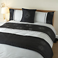 Tu Black Starburst Bed in a Bag - - includes Duvet Cover, Pillowcase, Runner and Cushion Cover
