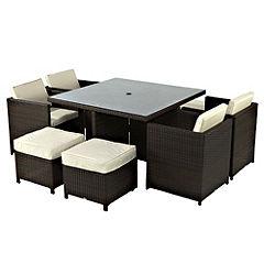 Polyrattan Cube 4-seater Garden Furniture Set