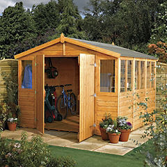 Rowlinson Double Door Apex Roof Shiplap Workshop Shed 9x15ft