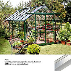 Eden Greenhouse with Horticultural Glass and Base 8x12 Natural Aluminium Finish