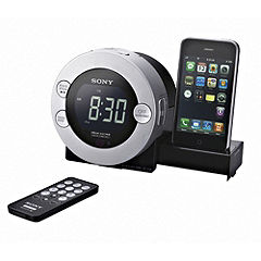 Sony ICFC71PS iPod Dock Clock Radio Silver and Black