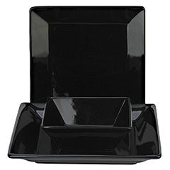 Tu Square Black Porcelain 12-piece Dinner Set