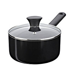 Sainsbury's Aluminium 18cm Saucepan with Lid Black