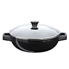 Sainsbury's Aluminium Double Handle Wok Black