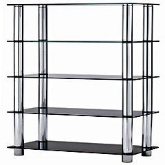 Camden Metal and Black Glass 5-tier Shelving Unit