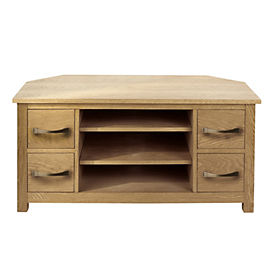 Kensington Oak Veneer Corner TV Unit