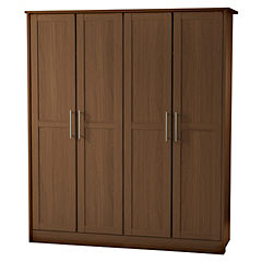 Delta Walnut Effect 4-door Wardrobe