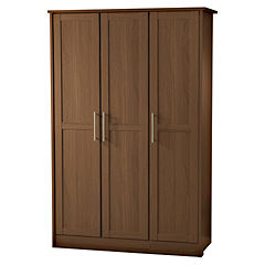 Delta Walnut Effect 3-door Wardrobe