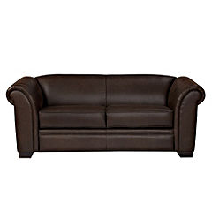 Oregon Large Faux Leather Chocolate Sofa