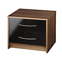 Colorado 2-drawer Bedside Cabinet Black Gloss