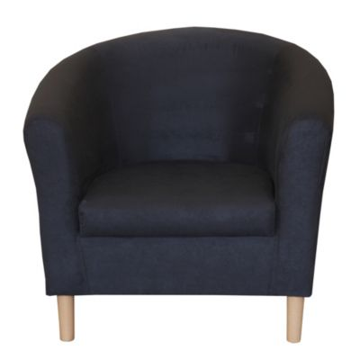 Tub Chair in Black Faux Suede - image 1