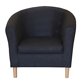 Tub Chair in Black Faux Suede