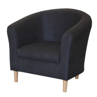 Tub Chair in Black Faux Suede - image 2