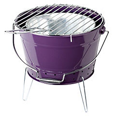 Sainsbury's Bucket Charcoal BBQ Purple