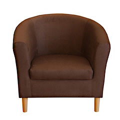 Tub Chair in Chocolate Faux Suede