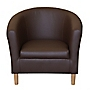 Tub Chair in Chocolate Faux Leather
