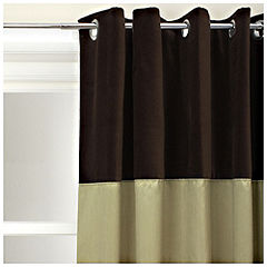 Tu Contrast Faux Silk/Velvet Eyelet Curtains Green/Chocolate