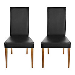 Kensington Pair of Faux Leather Upholstered Dining Chairs