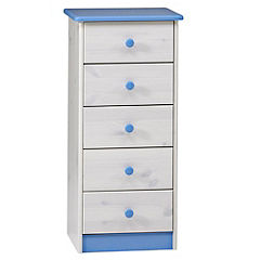 5-drawer Chest of Drawers Blue and White