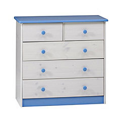 Atlanta 5-drawer Chest of Drawers Blue and White
