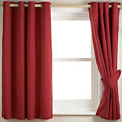 Tu Plain Red Canvas Curtain
