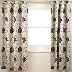 Tu Chenille Floral Red Curtain