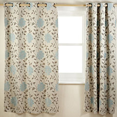 Tu Chenille Floral Duck Egg Curtains