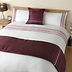 Tu Pink Ribbon Panel Bed in a Bag - includes Duvet Cover Pillowcase Runner and Cushion Cover