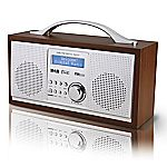 Red NE-3111R DAB Wooden Radio