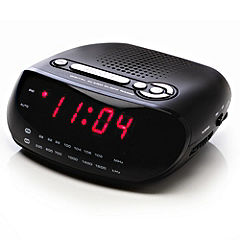 red am fm 0 6 led alarm clock radio reduced to click coll. Black Bedroom Furniture Sets. Home Design Ideas