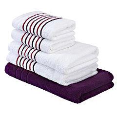 Tu Pink and Plum Stripe Bath in a Bag -  - includes 2 Bath Towels, 2 Hand Towels and a Bath Mat