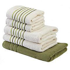 Tu Green Stripe Bath in a Bag  - includes 2 Bath Towels, 2 Hand Towels and a Bath Mat