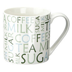 Tu Green Script Straight Side China Mug