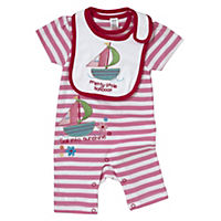 Tu Girls Boat Romper Suit and Bib