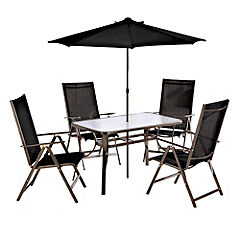 Tennyson 6-piece Dining Set Black and Steel